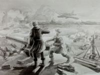 Меньшикова Алина_16 лет_Артиллерия на передовой Б.,тушь, 2020_ДШИ г. Карпинск_ Препод. Фурса В.А.