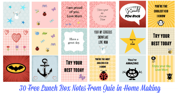 30 Free Lunch Box Notes