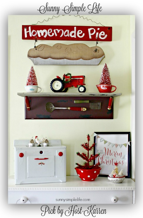 vintage farmhouse decor in red and yellow
