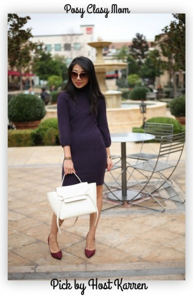 poshclassymom-autumn-cashmere-sweater-dress-purple-charles-david-burgundy-heels-celine-belt-bag-white-winter-style-6