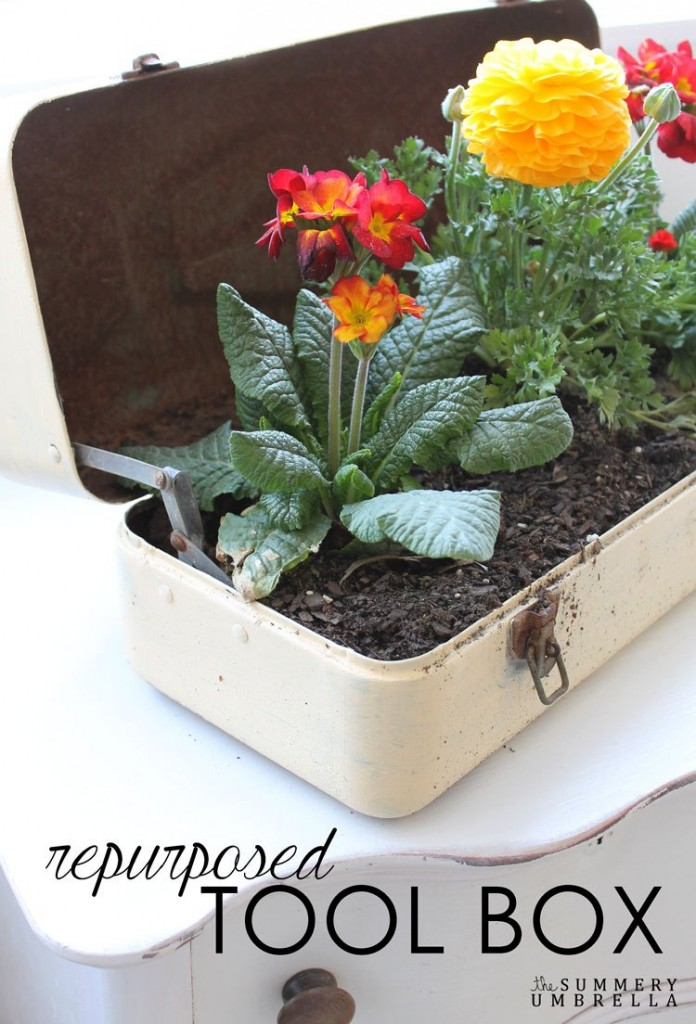 The Summery Umbrella -repurposed-toolbox-flower-planter