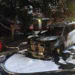 В Николаеве сожгли автомобиль полицейского начальника