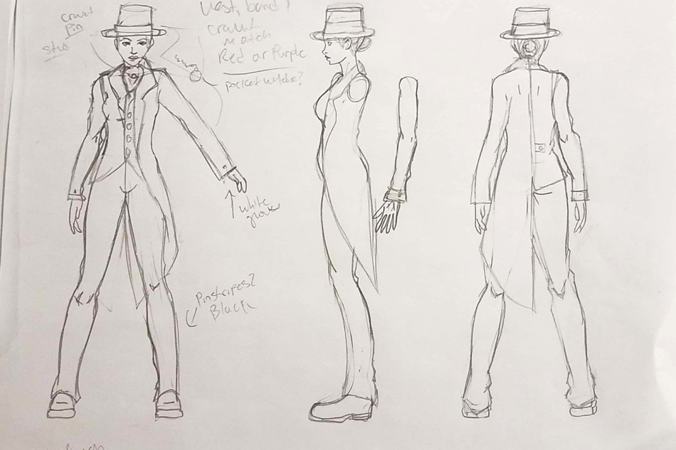 Costume design for when a performative element was explored.