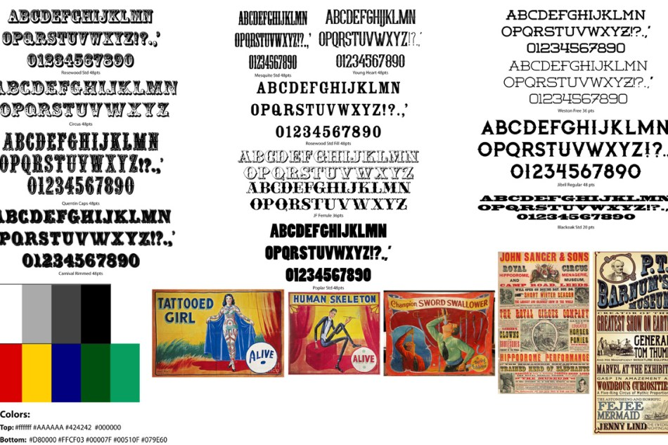 Brand Assets. Typographic samples, color palletes, and inspiration examples from all kinds of vintage posters