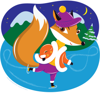Fox Ice Skating by Lyudmila Lavrentyeva