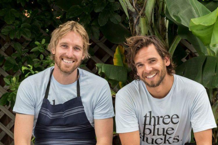 Three Blue Ducks Chefs Darren Robertson and Mark Labory at The Farm, Byron Bay