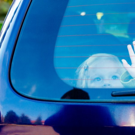 Child places pleading hand on back window of car