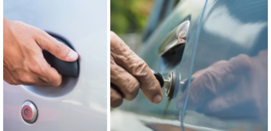 Unlocking a car door, opening a car door, side by side