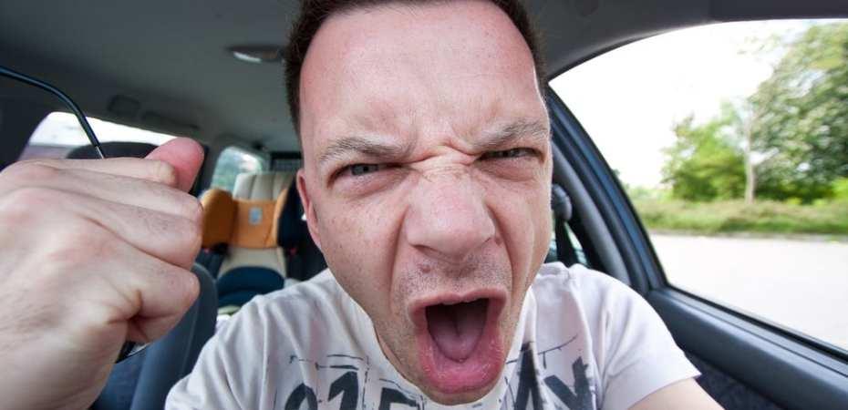 Yelling man in car Road Rage Illustration
