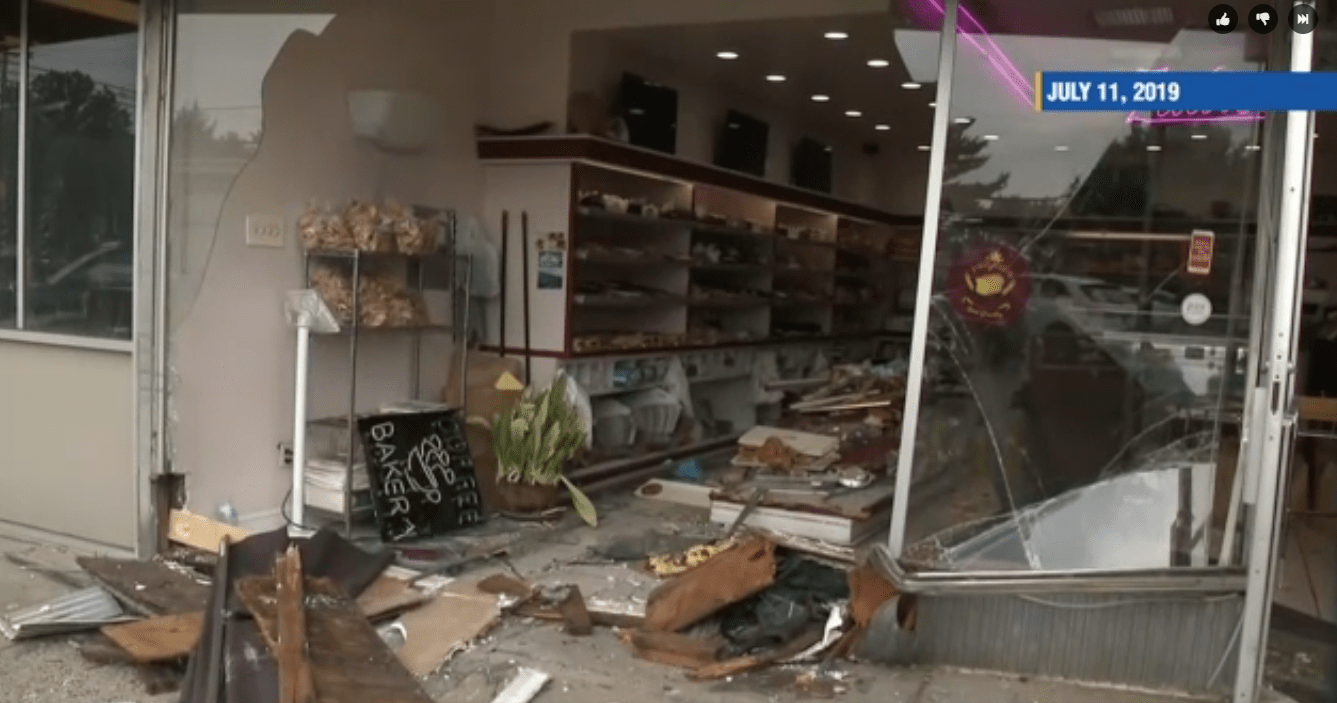 Aftermath of Zadie's Bakery storefront crash, July 2019