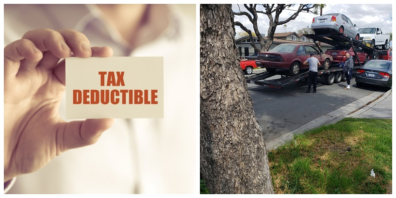 "left, man's hand holds sign ""tax deductible. Right, owner watches as car is prepared for donation"