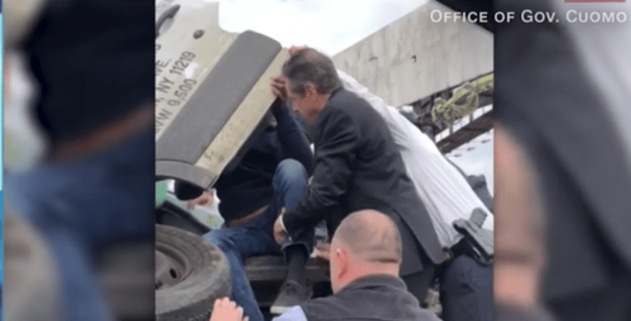 Governor Cuomo rescues trapped driver after accident on BQE