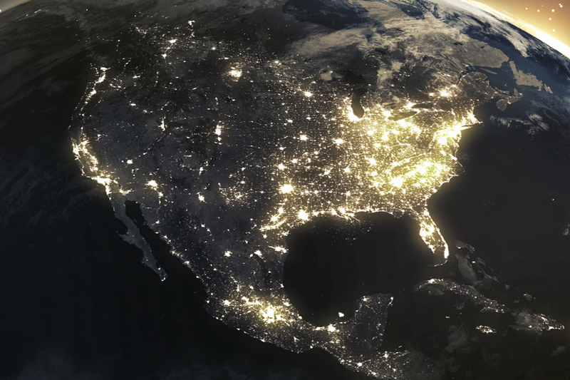 north america from a satellite view