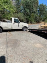 winched out pickup truck