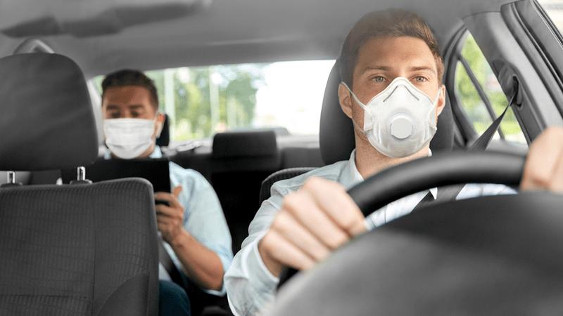 Ride sharing passengers wear face masks