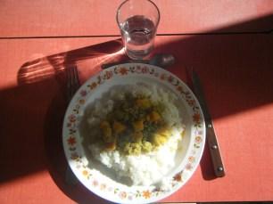 Dahl de pois cassés au patidou et riz blanc