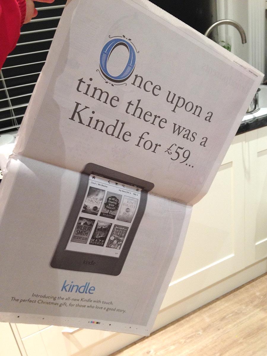 Photo of Kindle Christmas advert design.