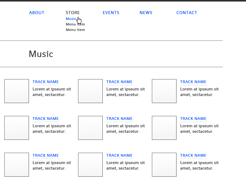 Screenshot of Amadeus Records web design.