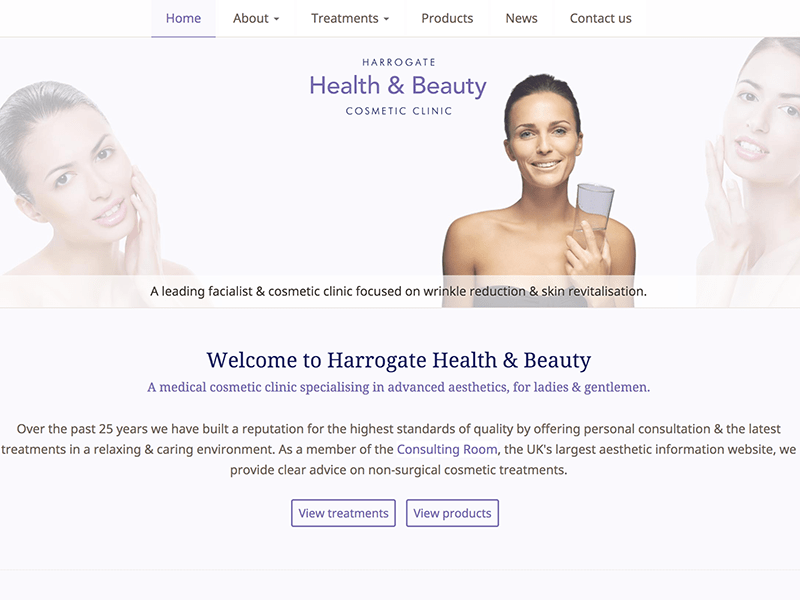 Screenshot of Harrogate Health & Beauty home page design.