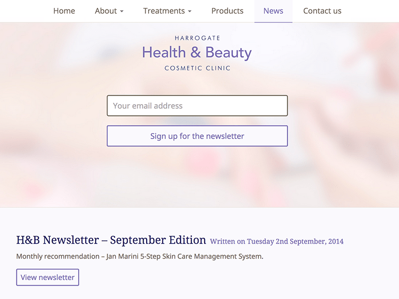 Screenshot of Harrogate Health & Beauty email newsletter design.