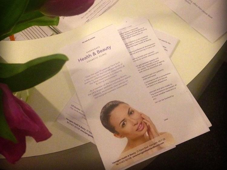 Photo of Harrogate Health & Beauty brochure print design.