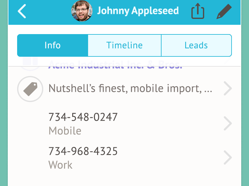 Screenshot of Nutshell mobile app design.