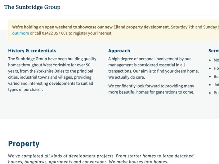 Screenshot of The Sunbridge Group web design.