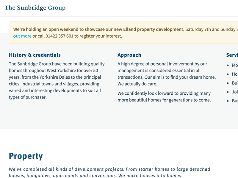 Screenshot of The Sunbridge Group web design.