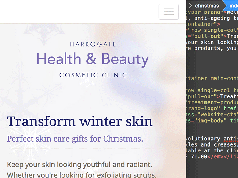 Screenshot of Website Design Harrogate, Harrogate Health & Beauty Cosmetic Clinic responsive website.