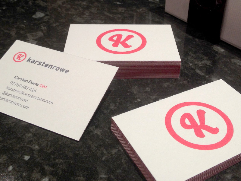 Photo of Karsten Rowe business card design.