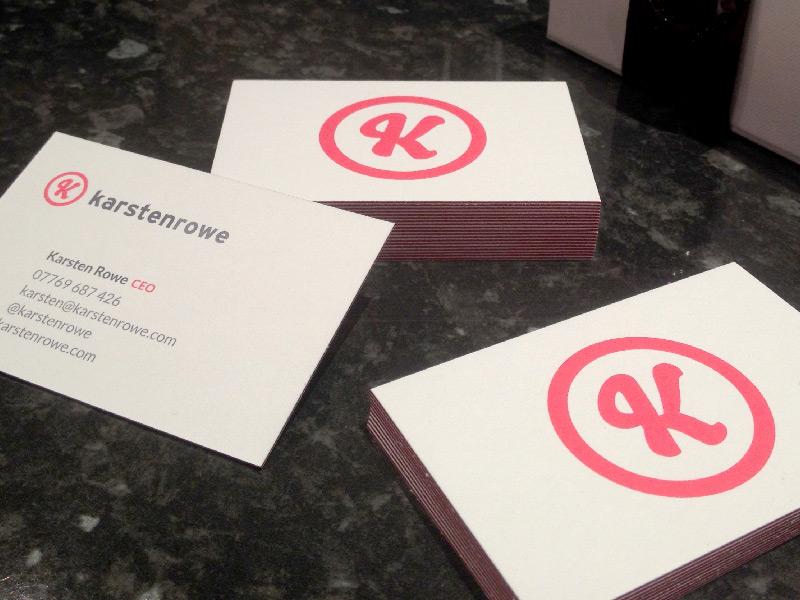 Photo of Karsten Rowe business card design.