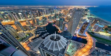 A staggering twilight view of the Dubai Marina from the 85th floor.