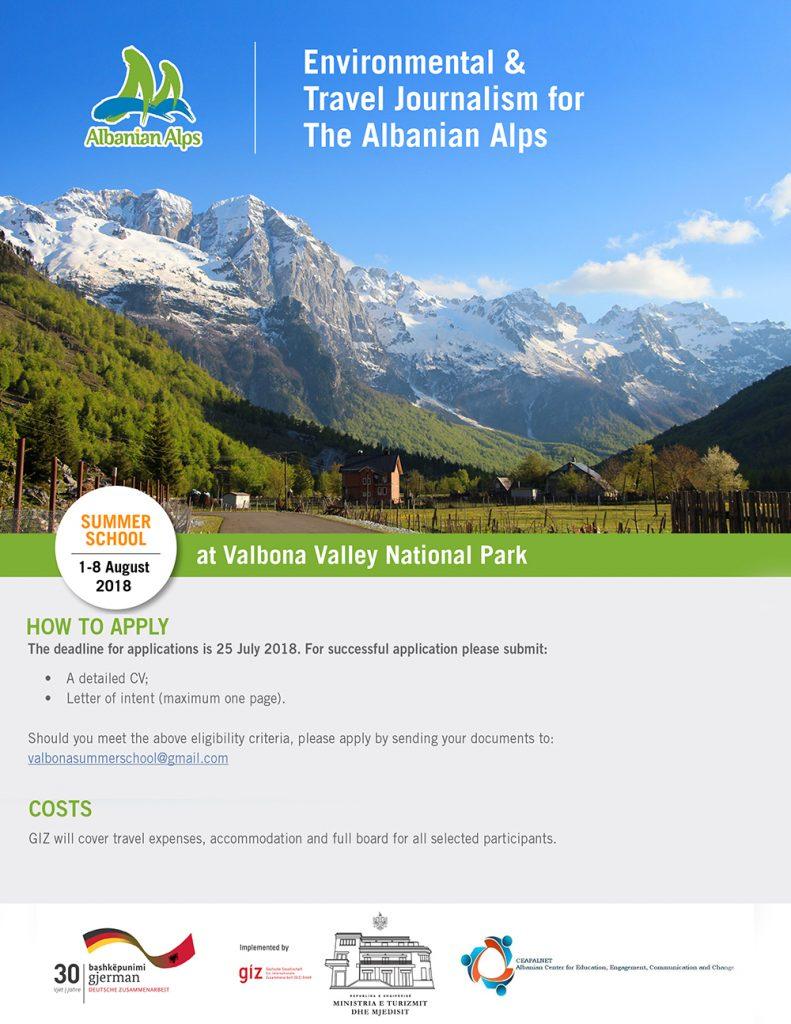 Thirrje për aplikime - Shkollë verore në Parkun Kombëtar të Luginës së Valbonës