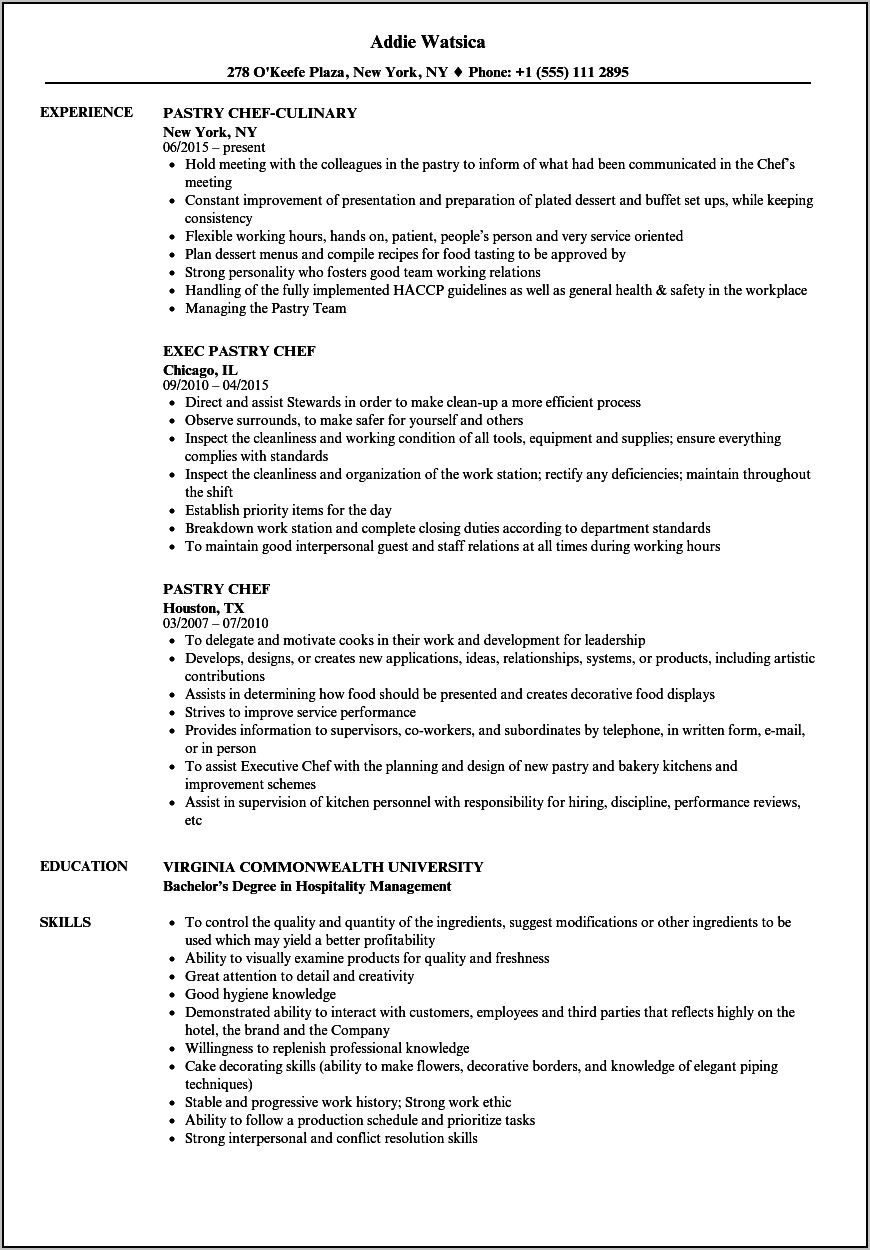 Assistant Pastry Chef Resume Sample
