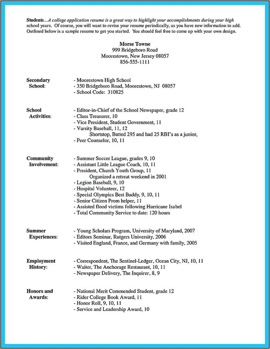 High School Resume Template For College
