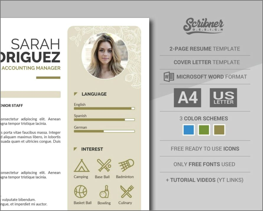 Modern Creative Cv Template Word Free Download