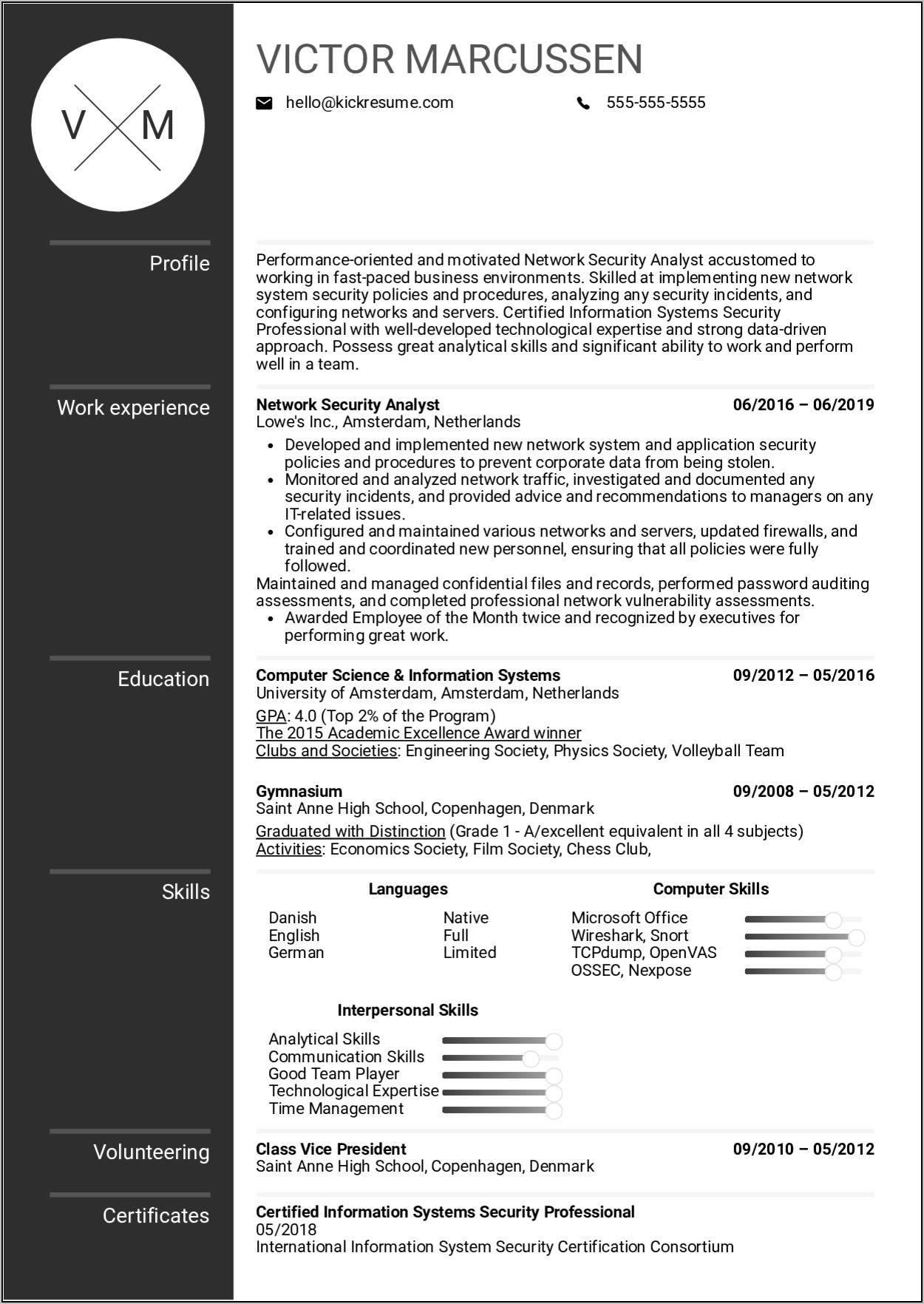 network security resume example
