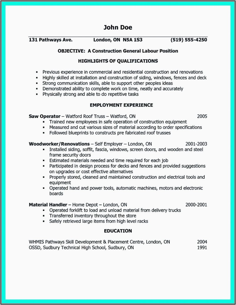 Resume For Construction Worker Objective