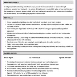 Resume Truck Driver Position