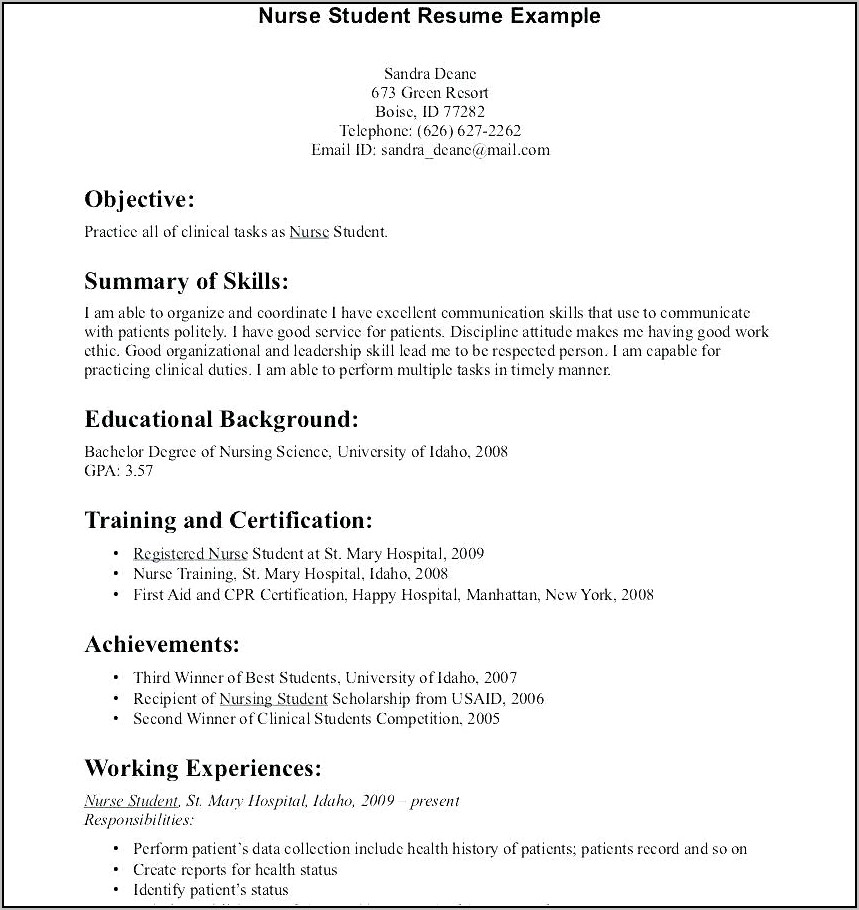 Resumes For New Grad Nurses