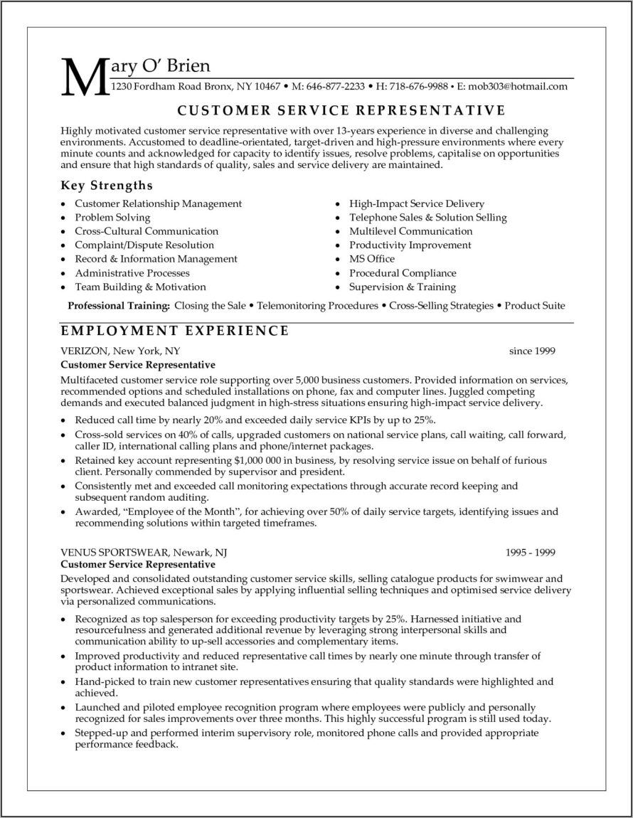 Samples Of Resumes For Customer Service Representative