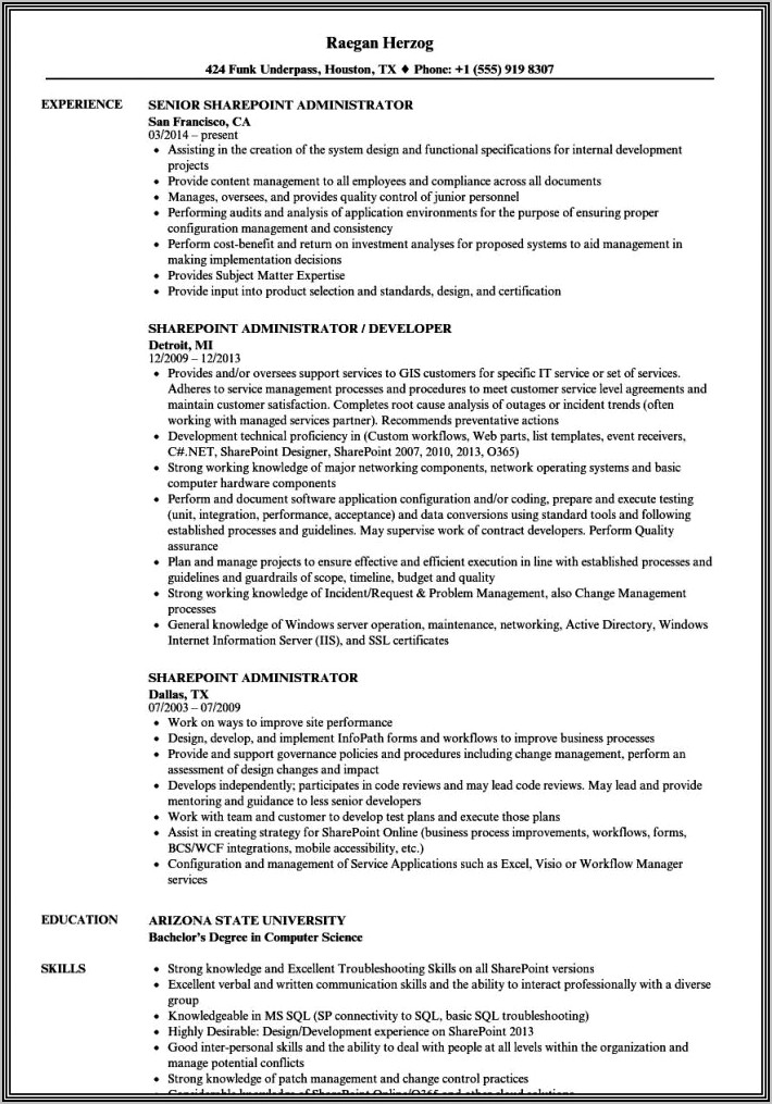 sharepoint admin resume samples