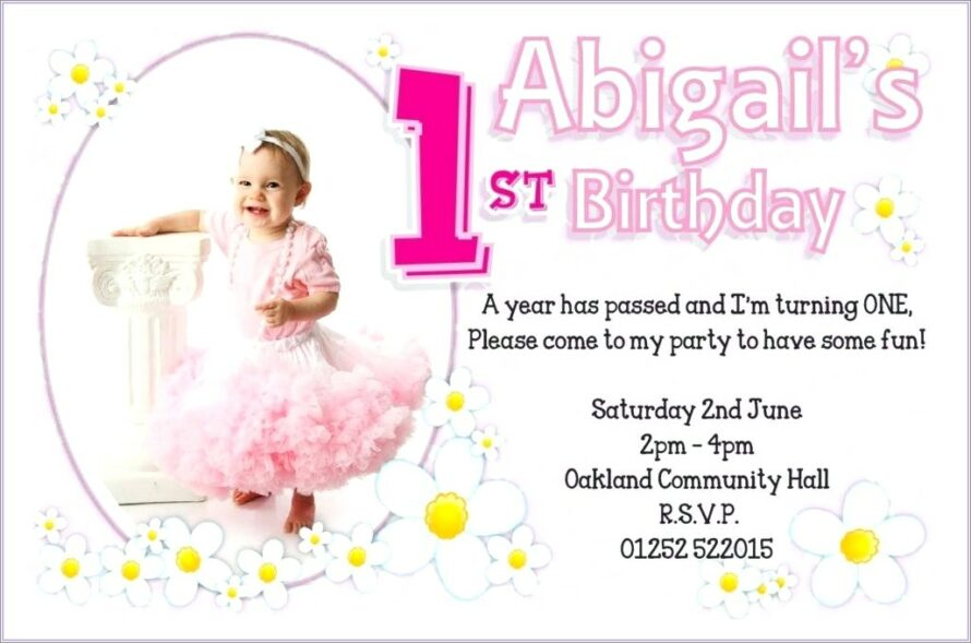 Baby Girl First Birthday Invitation Quotes