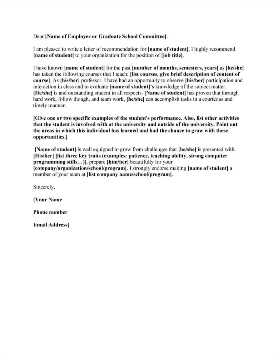 Boilerplate Letter Of Recommendation