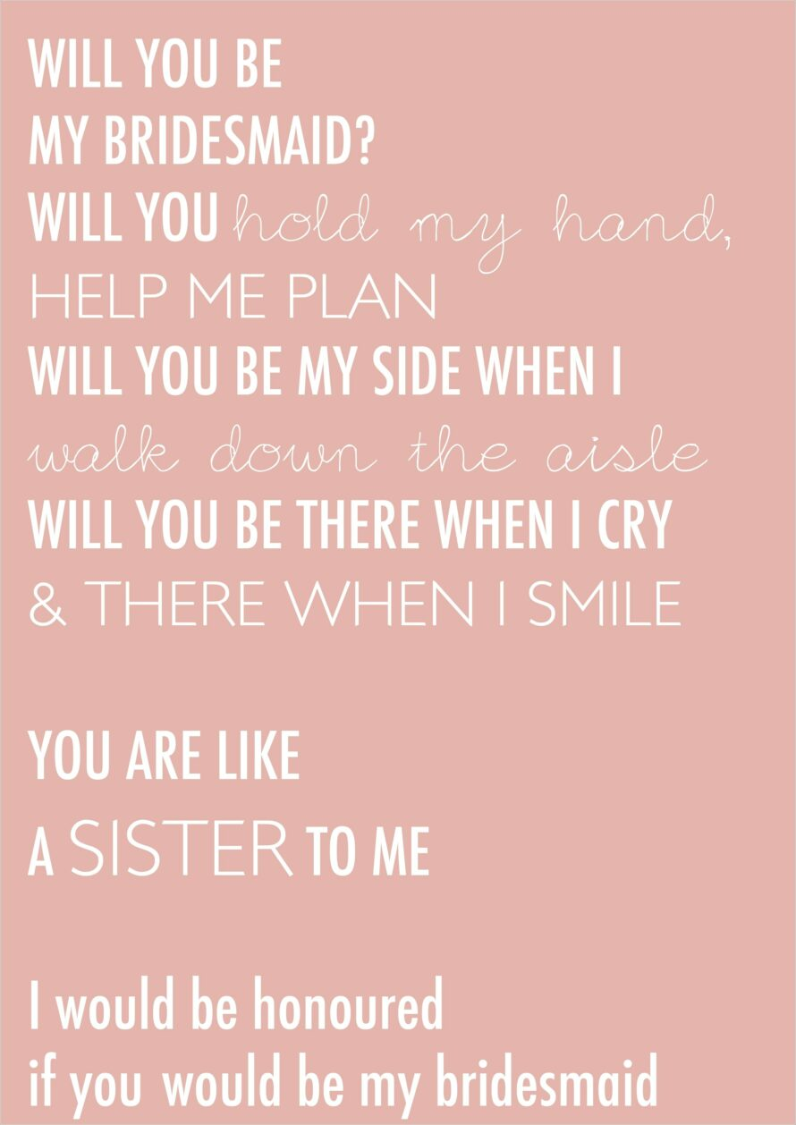 Bridesmaid Proposal Letter To Sister
