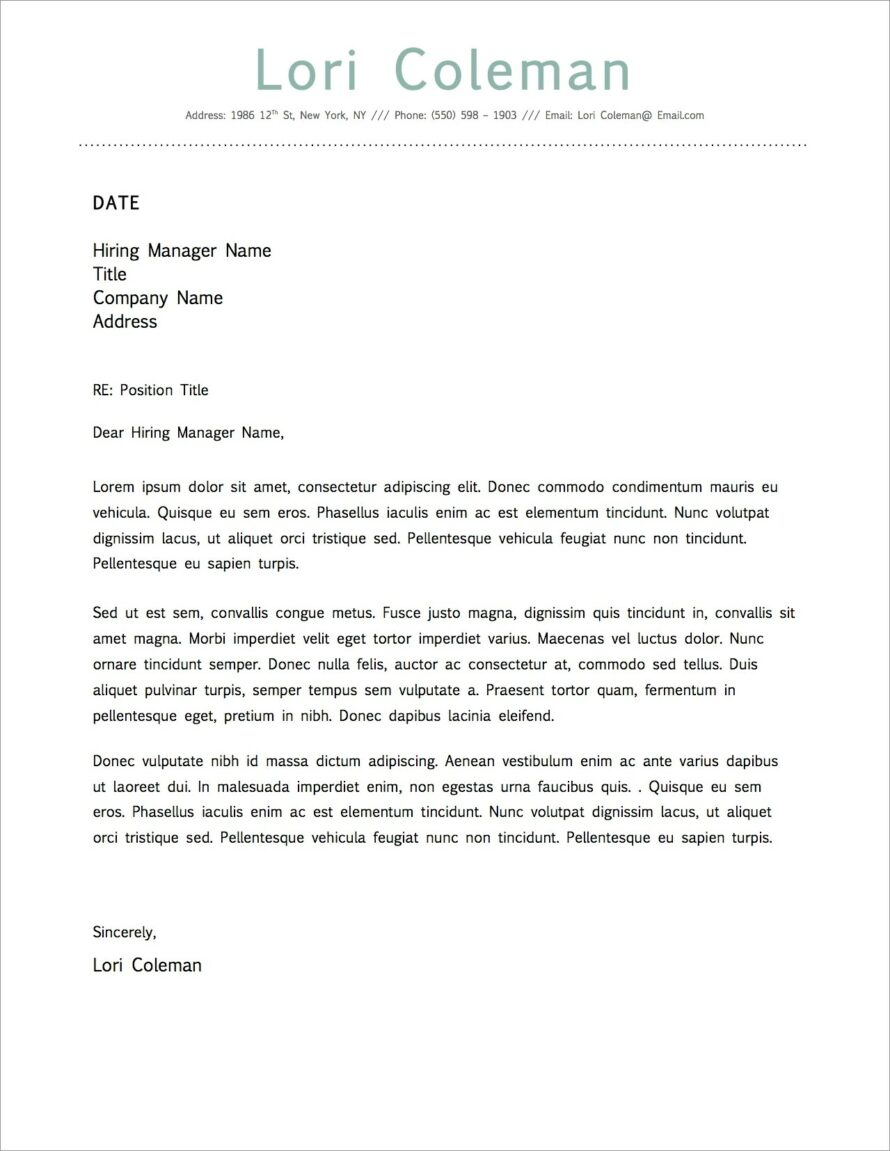 Business Cover Letter Template Word