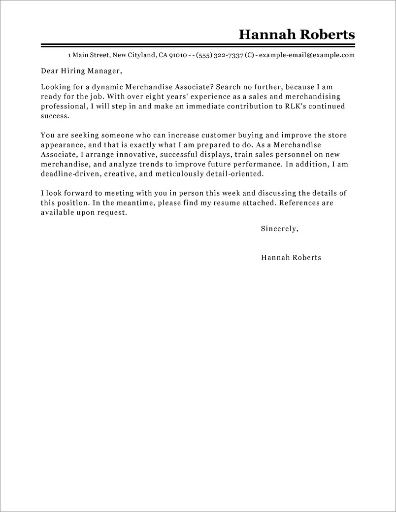 Buyer Cover Letter With No Experience