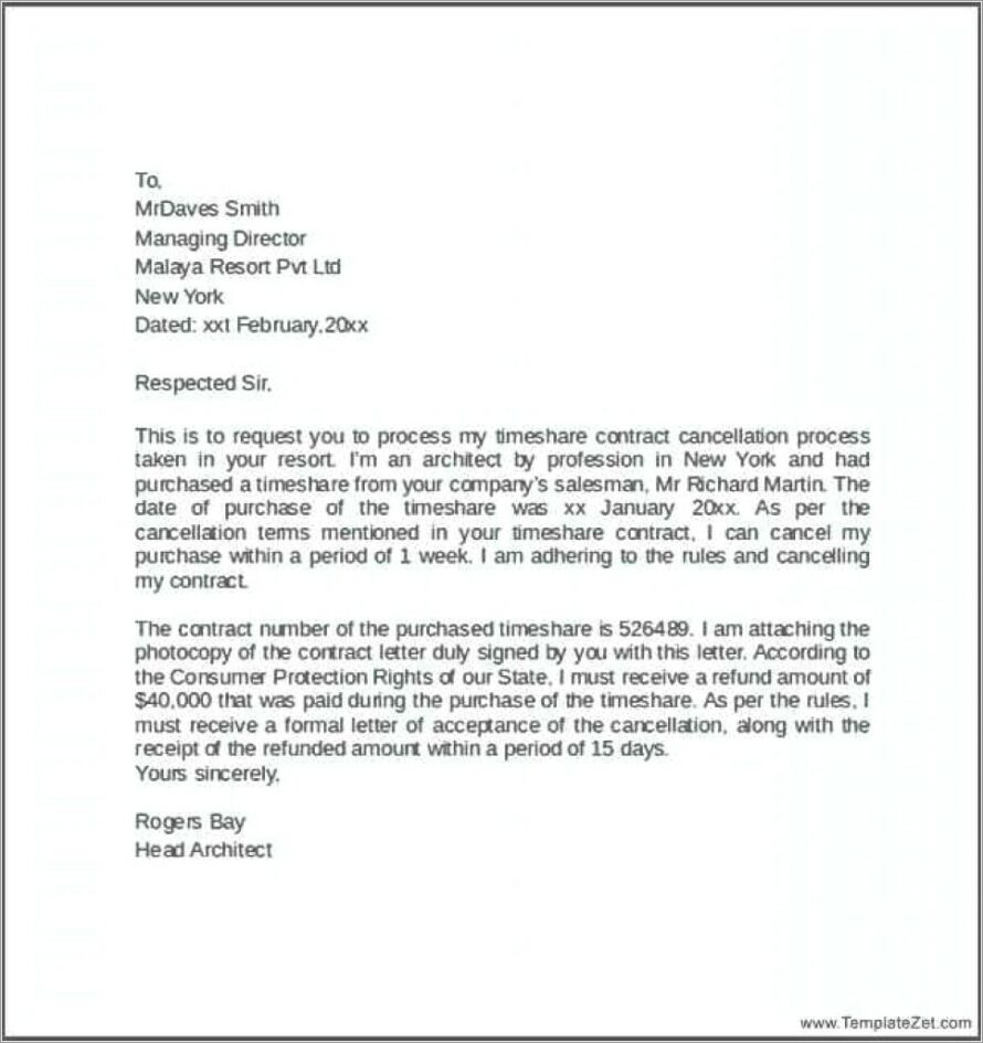 Cancel Timeshare Contract Sample Letter