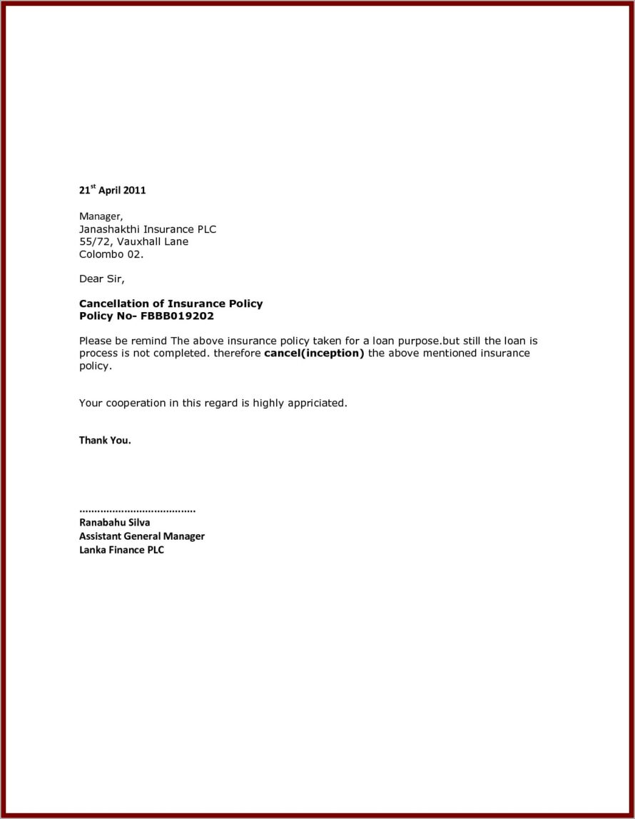 Cancellation Insurance Policy Letter Template