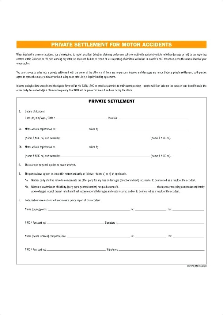 Car Accident Payment Agreement Letter